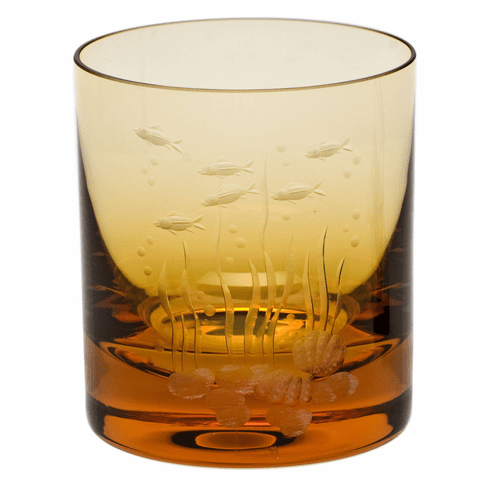 Moser Whisky Ocean Life 12.5oz DOF Glass Topaz