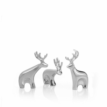 Nambe Holiday - Miniature Dasher Reindeer Figurine Set