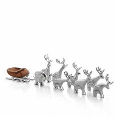 Nambe Holiday - Miniature Reindeer Set 9 Pieces