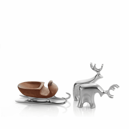 Nambe Holiday - Miniature Sleigh with Reindeer