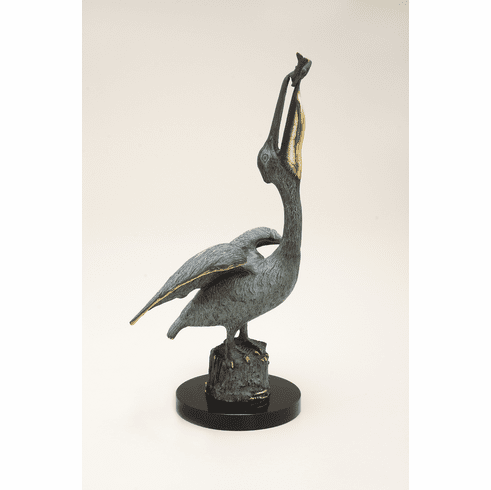 Pelican Eating Fish Sculpture by SPI Home