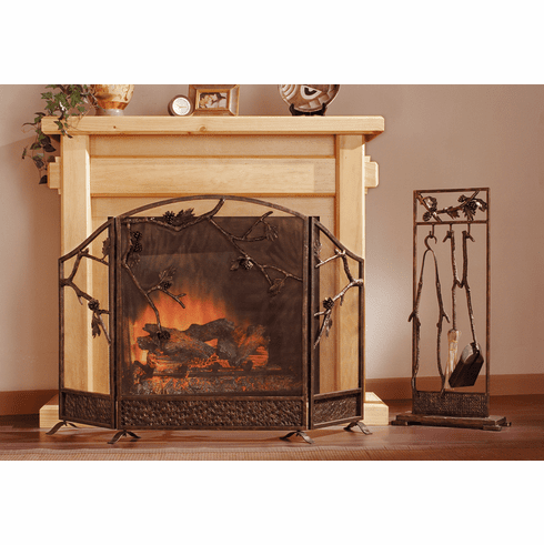 Pinecone Fireplace Screen by SPI Home
