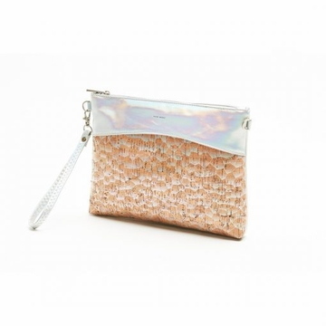 Pixie Mood Nicole Large Pouch Wristlet / Crossbody - Holographic & Holo Cork