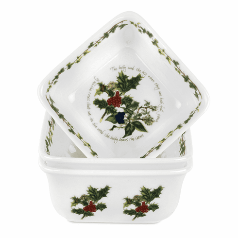 Portmeirion Holly and The Ivy Set of 3 Mini Square Dishes