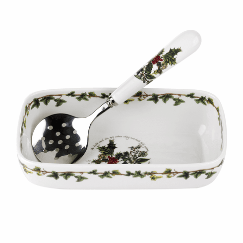 Portmeirion Holly & Ivy Cranberry Dish with Slotted Spoon