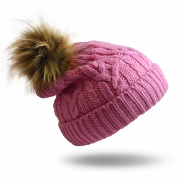 Pudus Hat Pink Cable Knit Kid