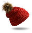 Pudus Hat Red Cable Knit Adult