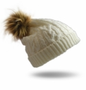Pudus Hat White Cable Knit Adult