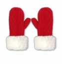 Pudus Mittens Red Cable Knit Adult