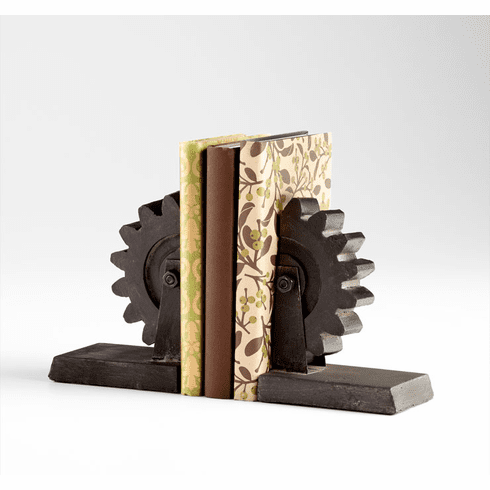 Raw Steel Gear Bookends by Cyan Design
