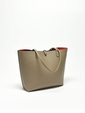 Remi & Reid Departure Tote Light Taupe/Lipstick Red
