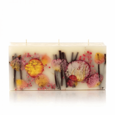 Rosy Rings 3 Wick Brick Botanical Candle - Apricot Rose