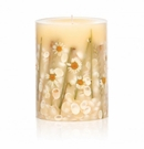 "Rosy Rings Beach Daisy 6.5"" Tall Round Botanical Candle"