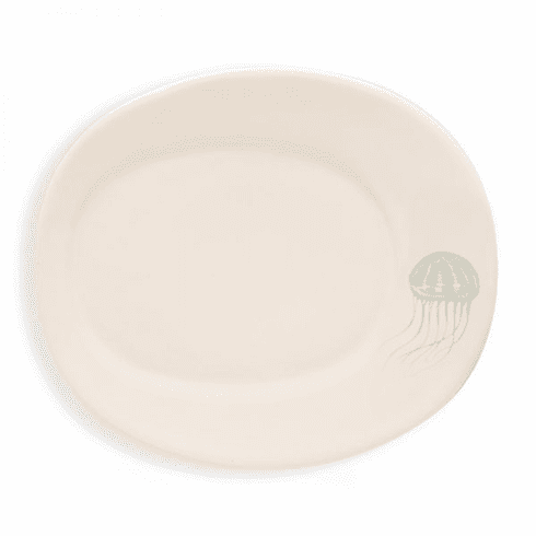 Rosy Rings Oval Ceramic Plate - Jellyfish