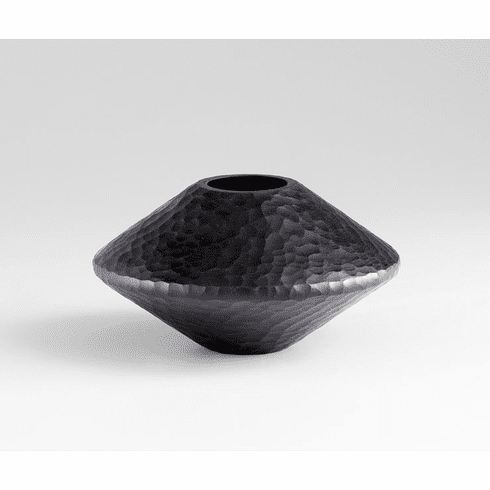 Round Lava Black Glass Vase by Cyan Design
