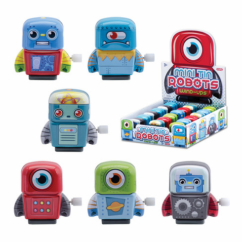 Schylling Vintage Mini Tin Wind-Up Robots (Designs Assorted)