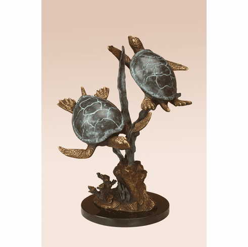 Sea Turtle Duet with Seagrass Sculpture by SPI Home