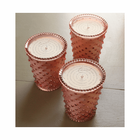 Simpatico Home 16 Ounce Hobnail Glass Candle - Coral (No. 45)