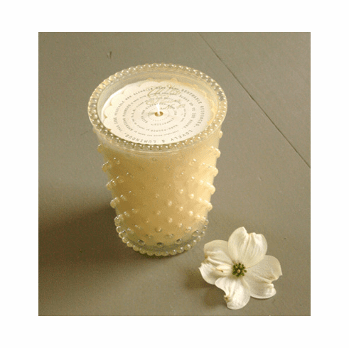 Simpatico Home 16 Ounce Hobnail Glass Candle - White Flower (No. 42)