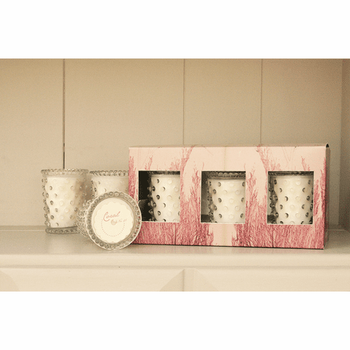 Simpatico Home Coral 3Pc Hobnail Votive Set