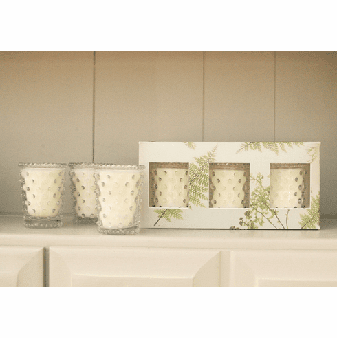 Simpatico Home Fern 3Pc Hobnail Votive Set