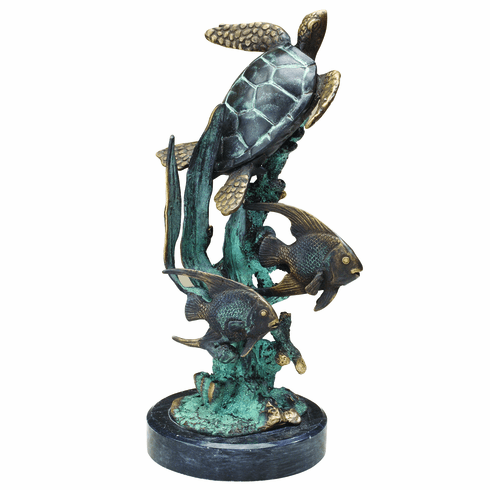 Single Sea Turtle with Fish Sculpture by SPI Home