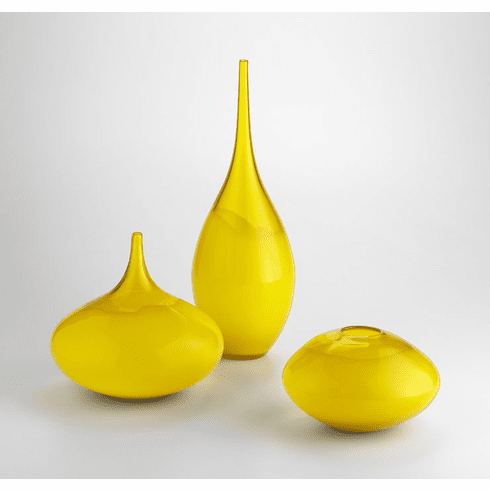 Small Moonbeam Yellow Art Glass Vase by Cyan Design