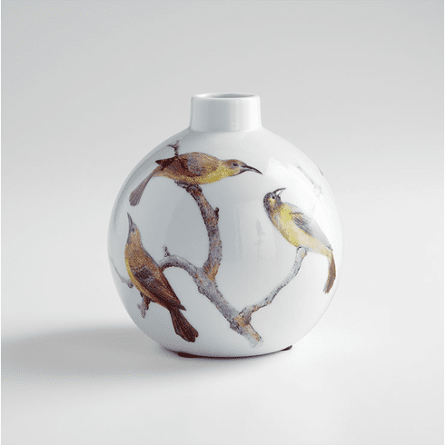 Small White Ceramic Bird Vase by Cyan Design