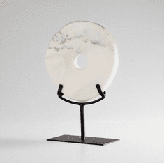 Small White Granite Disk Sculpture by Cyan Design