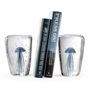 SPI Home Art Glass Blue Jellyfish Wedge Bookend