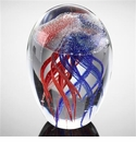 SPI Home Art Glass Red & Blue Jellyfish 4.5 In