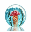 SPI Home Art Glass Striped Jellyfish Paperweight