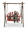 SPI Home Bear and Cubs on Porch Swing Garden Sculpture