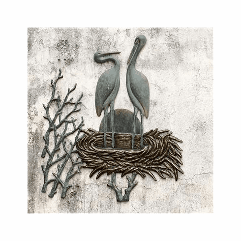 SPI Home Crane Pair in Nest Wall Plaque