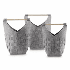 SPI Home Crosshatch Gray Decor Bags with Wood Handles