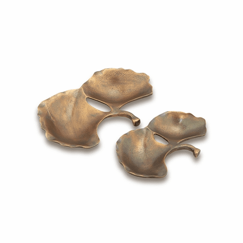 SPI Home Gingko Leaf Trays Set of 2