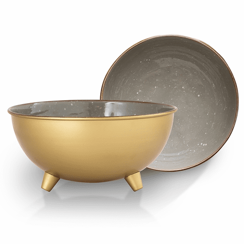 SPI Home Gray and Brass Bowls Set of 2