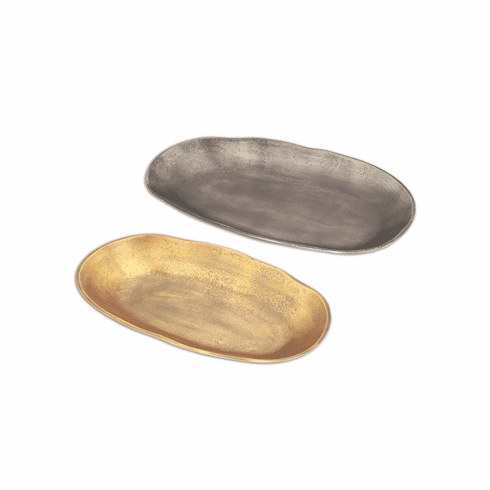 SPI Home Gray and Brass Oval Platters Set of 2