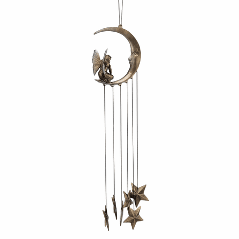 PEWTER FAIRY IN RING WIND CHIME