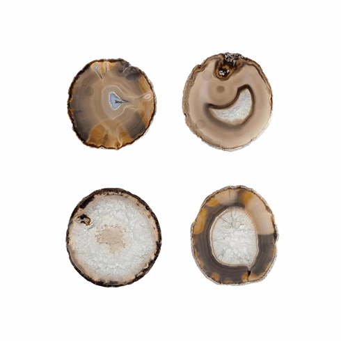 SPI Home White and Natural Agate Coaster