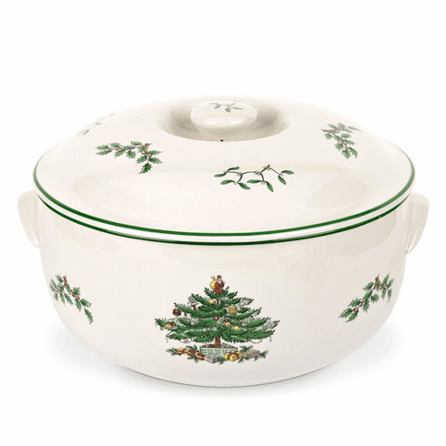 Spode Christmas Tree 8 Cups Round Covered Deep Dish