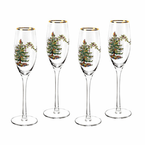 Spode Christmas Tree Champagne Flutes Set of 4
