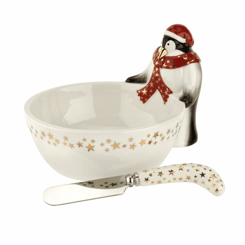 Spode Christmas Tree Figural Collection 2 Piece Penguin Dip Bowl with Spreader