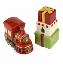 Spode Christmas Tree Figural Collection 2 Piece Train and Gifts Salt and Pepper Set