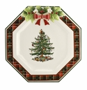 Spode Christmas Tree Figural Collection Figural Tartan Octagonal Plate