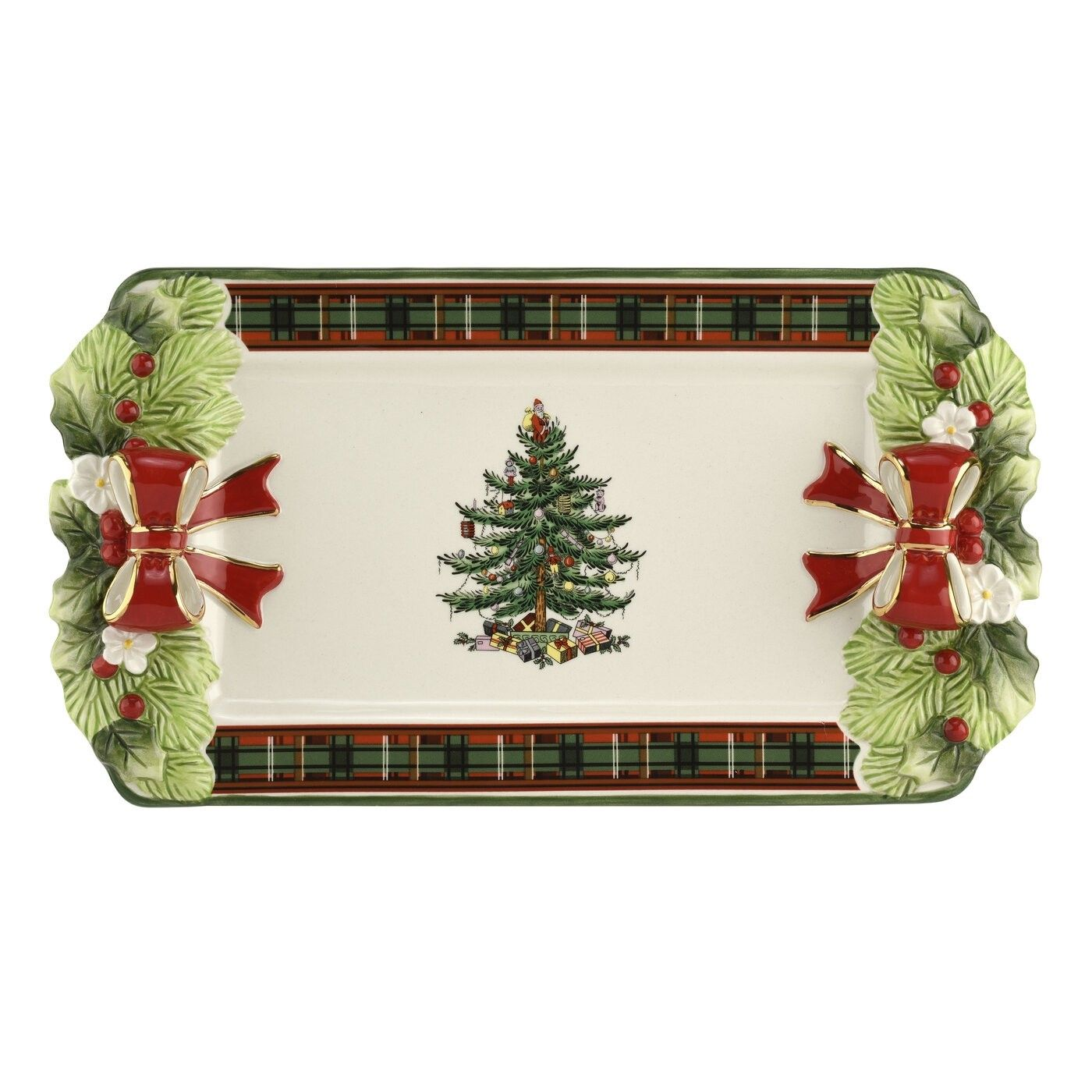 Spode Christmas Tree Candle Holder: Spode Christmas Tree Figural Collection Figural Tartan