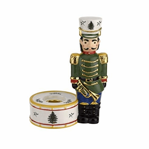 Spode Christmas Tree Figural Collection Nutcracker Candle Holder, Green