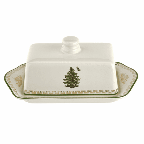 Spode Christmas Tree Gold Collection Covered Butter Dish