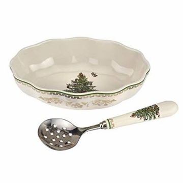 Spode Christmas Tree Gold Collection Cranberry Dish and Server, Set of 2