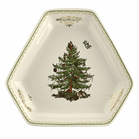 Spode Christmas Tree Gold Collection Hexagonal Dish Large